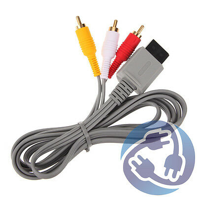 AV Audio Video A/V Stereo RCA Cable Cord for Nintendo Wii Wii U Gamepad