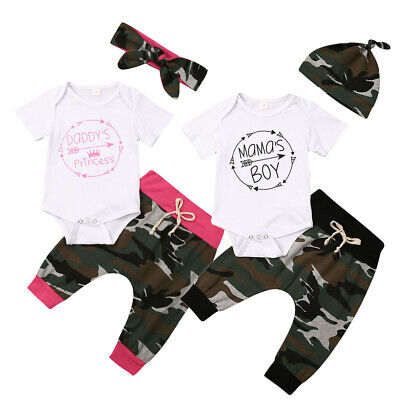 US Infant Baby Girl Boy Clothes Matching Romper+ Camouflage Pants Outfits Sets