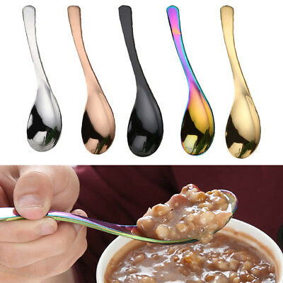 3pcs/Set Home Kitchen Stainless Steel Big Round Spoon Rainbow Metal Soup Spoons ()