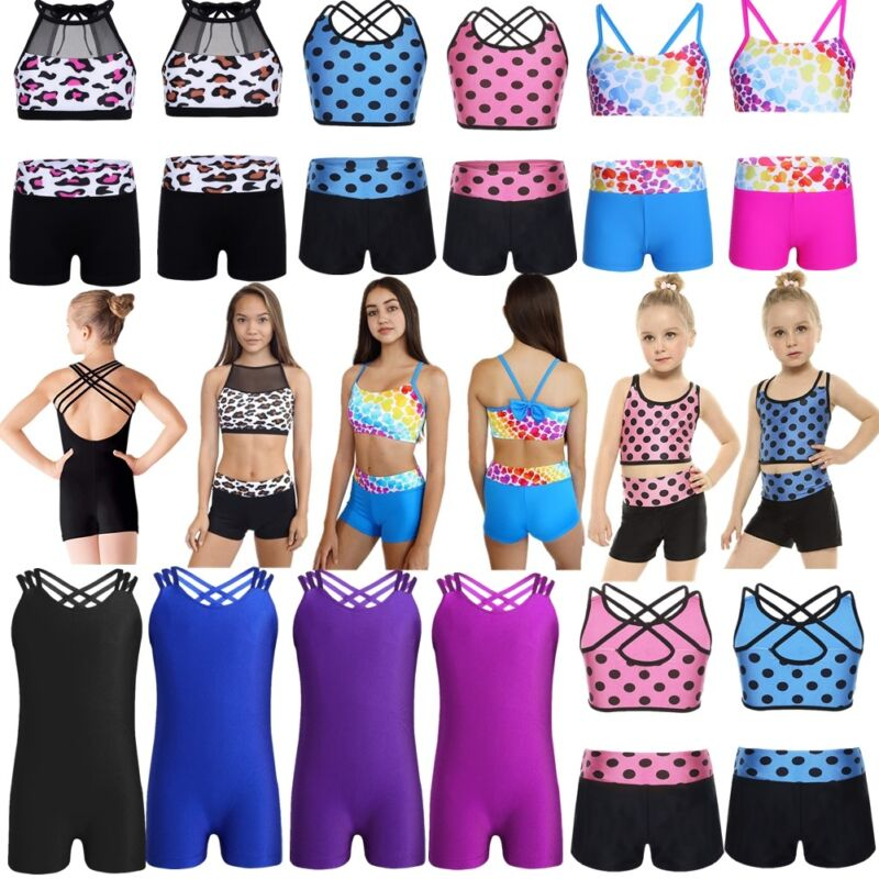 Girl Kid Ballet Street Dance wear Gymnastics Leotard Bra Top+Shorts Swim Outfits