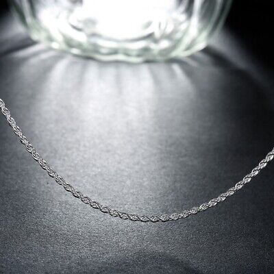 Sterling Silver .925 Rhodium Plated 1.5 mm Thickness Singapore Chain Necklace