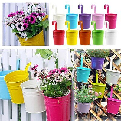 Metal Iron Flower Pot Hanging Balcony Garden ...
