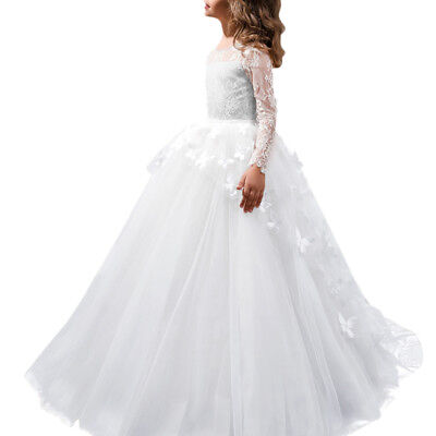 Flower Girls Lace Butterfly Ball Gown First Communion Dress for Wedding Prom (Butterfly For Girls)