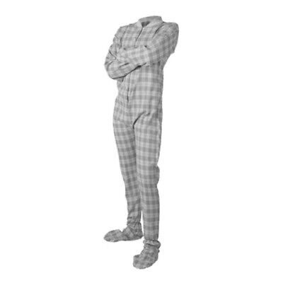 Grey and White Flannel Adult Footed Pajamas Footie Drop Seat Mens Womens PJs Flannel Footed Pajamas