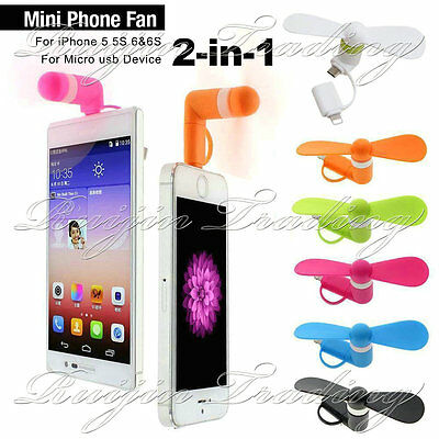 MINI PORTABLE POWER MICRO USB FAN FOR IPHONE 5/5S/6/6S ANDROID MOBILE PHONES