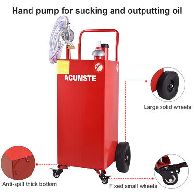 Us 30 Gallon Gas Caddy Tank Fuel Storage Tank Container Pump Transfer Wheels Red