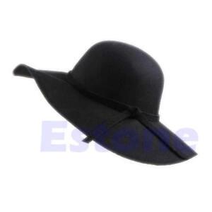Vintage Women Lady Wide Brim 100% Wool Felt Bowler Fedora Hat Floppy Cloche
