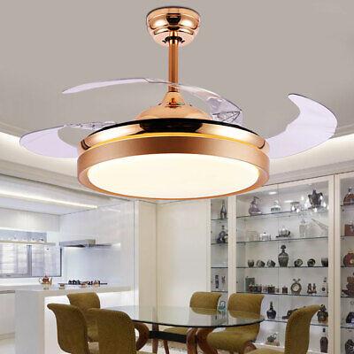LED Chandelier Lighting Retractable Blade Ceiling Fan Light 42