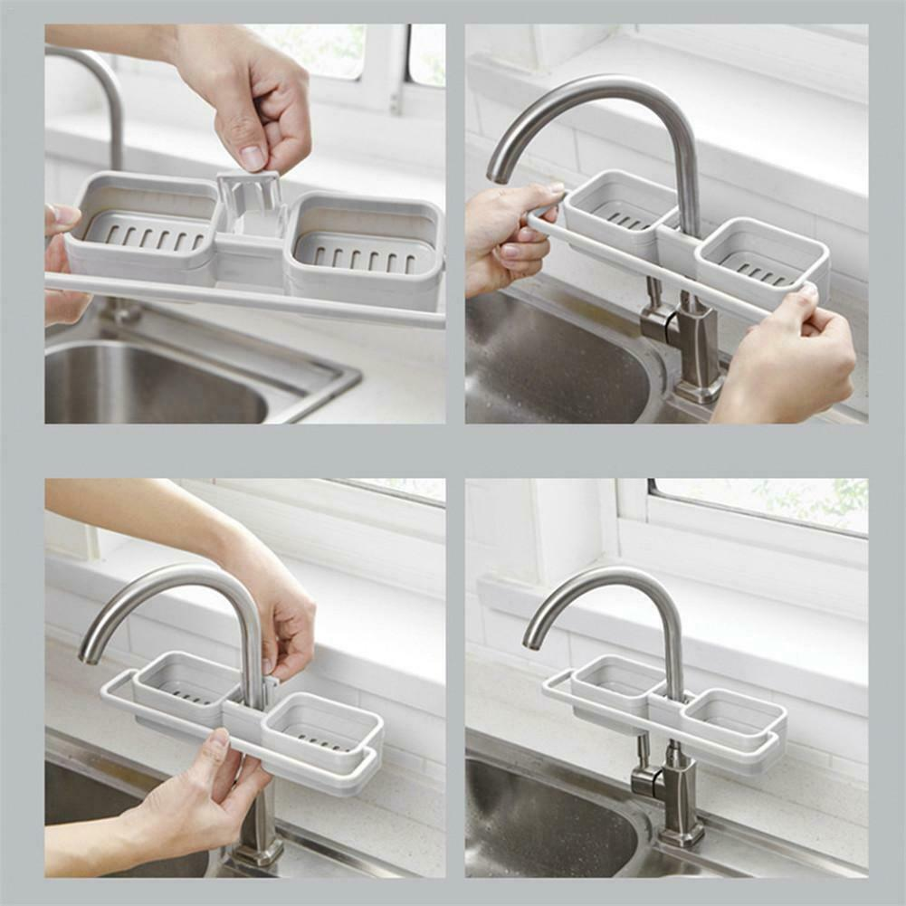 Home Kitchen Sink Faucet Sponge Soap Storage Organizer Drain