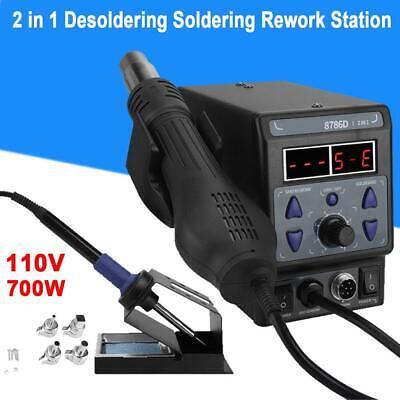 8786d-i 2 In 1 Smd Soldering Iron Hot Air Rework Station Desoldering 110v 700w