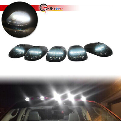 5pcs Smoked Cab Roof Marker Lights White LED Assemblies For Trucks SUV Universal