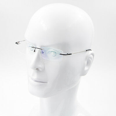(US Stock Mens Flexible Titanium Alloy Eyeglasses Frame Rimless Glasses Frame New)
