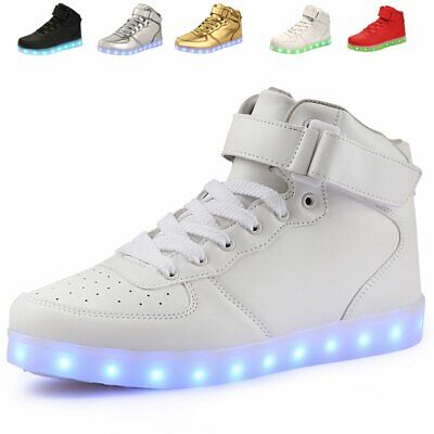 AoSiFu Kids High Top USB Charging LED Shoes Flashing Fashion Sne 11.5 Little Kid