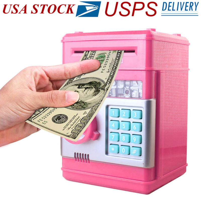 Kids Electronic Piggy Bank ATM Password Money Coin Automatic Safe Saving Box USA
