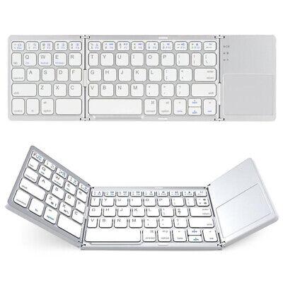 Bluetooth Mini Keyboard Touchpad Folding Wireless Silver For iPad iPhone PC Home