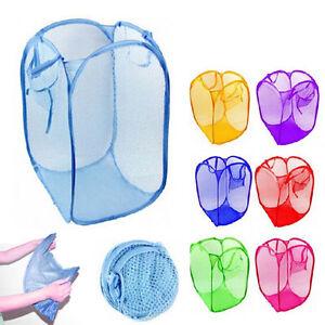 3 Pack Pop Up Folable Laundry Basket Mesh Hamper Washing Clothes Bag Storage Bin