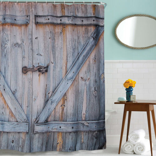 Rustic Wooden Barn Door Graphic Shower Curtain Antique
