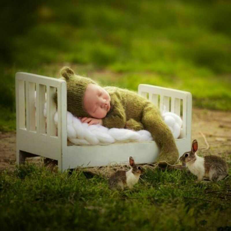 Mini Wood Newborn Baby Bed Detachable Wooden Photography Photo Props For  ~