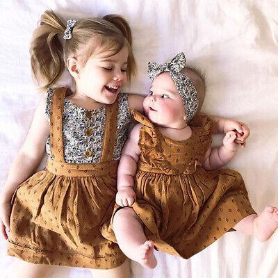 Girls Ruffle Dress (US Stock Toddler Kid Baby Girl Sister Matching Ruffle Cotton Romper Dress)