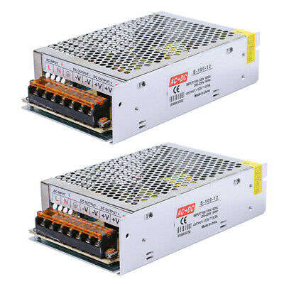 2x Dc 12v 8a 96w 110v 220v Regulated Switching Power Supply For Led Light Strip
