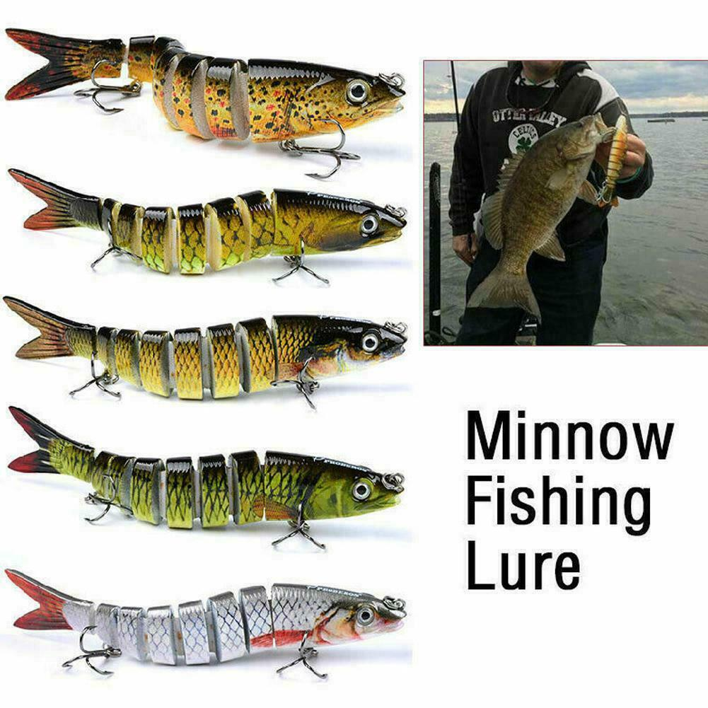 3D Dancing Fishing-Lure 8-Segement 5.2in//19g Pike-Lure With Mouth Swimbait W2J1