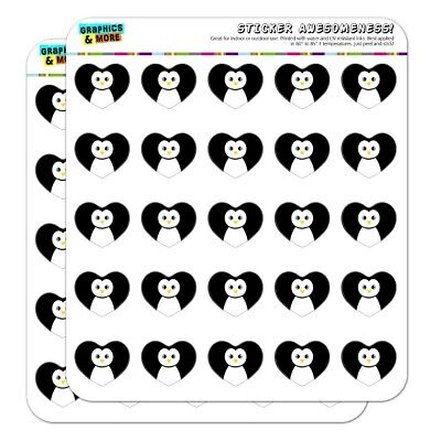 Cute Penguin Black and White Heart Planner Scrapbook Craft S