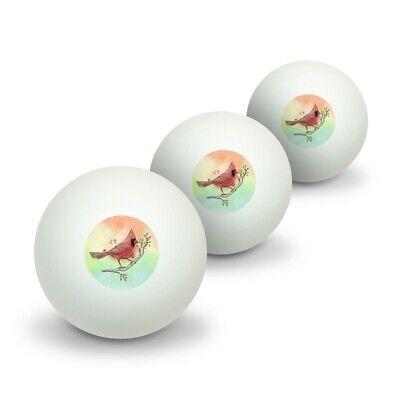 Cardinal Watercolor Northeastern Bird Novelty Table Tennis Ping Pong Ball 3 Pack