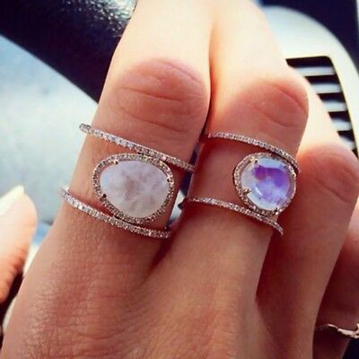 Gemstone Oval Ring - Women Natural Rainbow Moonstone Ring Oval 14K Rose Gold Gemstone Finger Ring Set