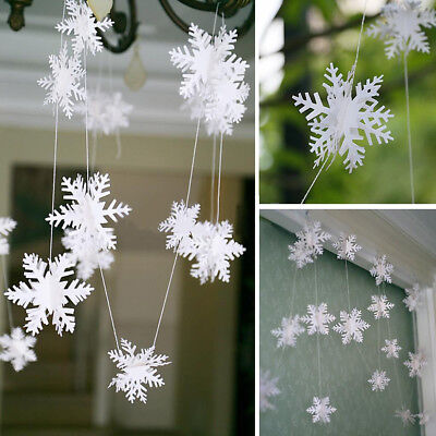 300cm Snowflake Garland Frozen Winter Wonderland Xmas Party Hanging Decor Well