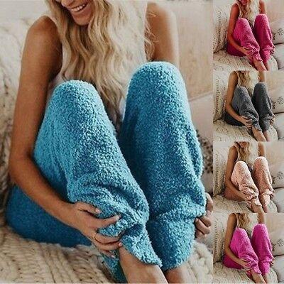 (Womens Lounge Sleep Pants Pajama Bottoms Warm Fleece Trousers Casual Nightwear)