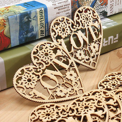 10PCS Wooden Shape Love Heart Wedding Hanging Decoration Craft Embellishment FT
