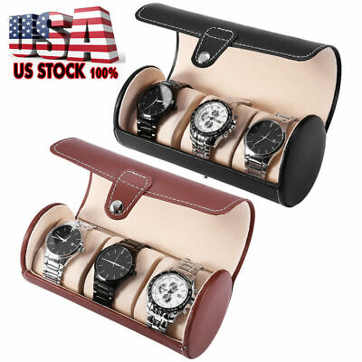 3 Slot Watch Travel Case PU Leather Roll Box Collector Organizer Jewelry Storage Organized Travelers Leather