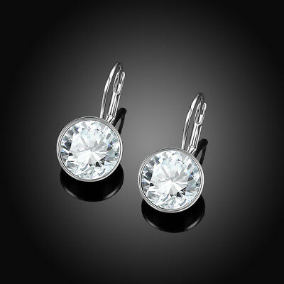 LARGE 15M Round Bella Earrings Clear Swarovski Crystal Silver Plated Bezel Lever ()