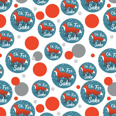 Oh For Fox Sake Funny on Teal Premium Gift Wrap Wrapping Paper Roll - Teal Wrapping Paper