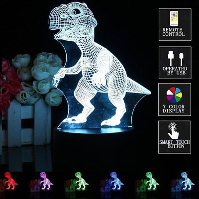 Dinosaur 3D Led Night Light Touch Remote Table Desk Illusion Lamp For Kids Gifts