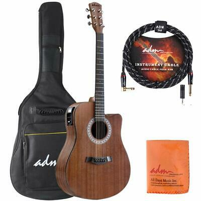 ADM 41 Inch Full Size Acoustic Electric Guitar Cutaway with EQ, Built in Tuner