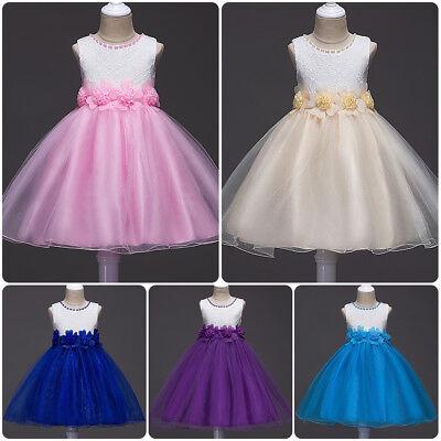 Flower Girl Dress Beaded Wedding Birthday Party Princess Dresses for Kid Girls