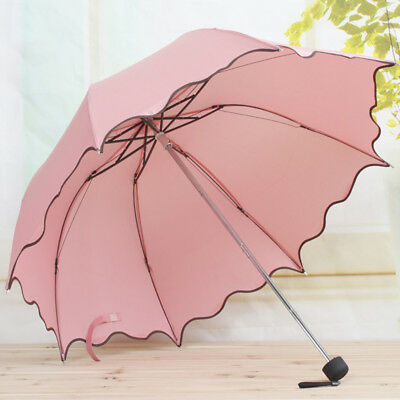 Fashion Women Lady Magic Flowers Dome Parasol Sun/Rain Folding Anti-UV Umbrella