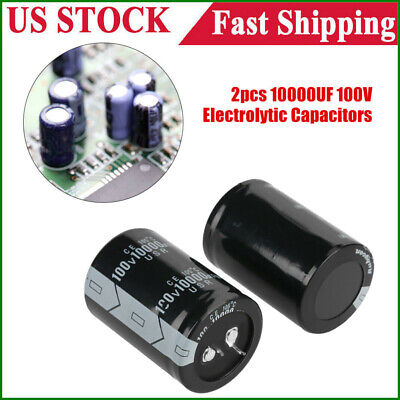 2pcs Profession 10000uf 100v Electrolytic Capacitor 105 35x50mm 100 Volt Black