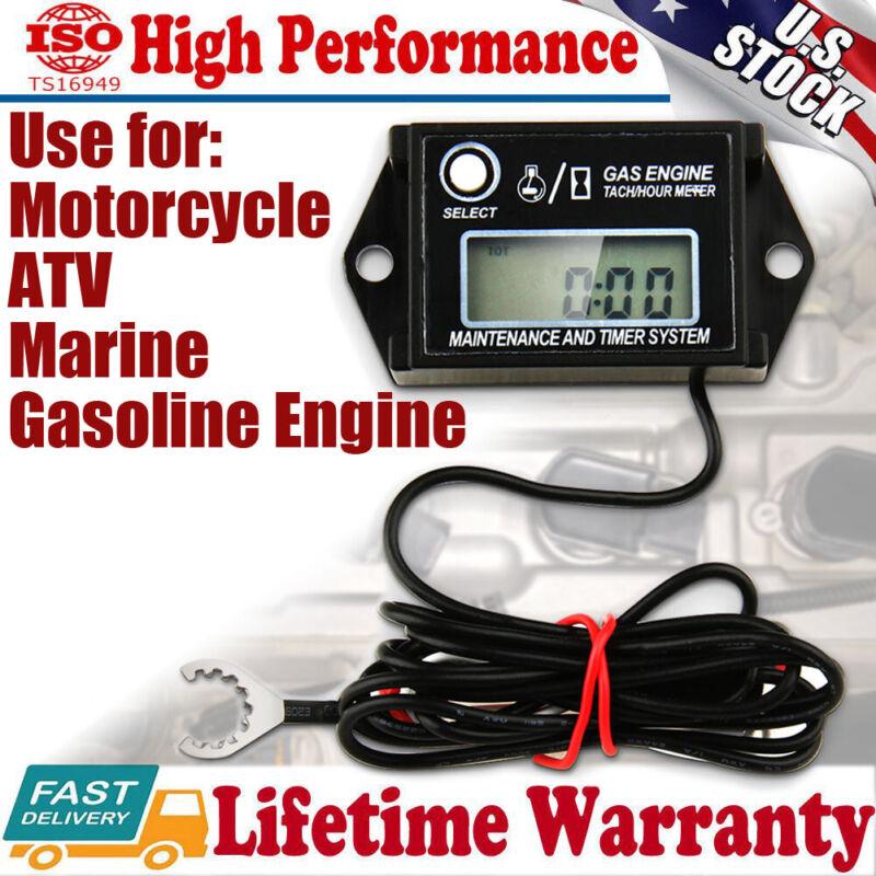 Digital Tach Hour Meter Tachometer RPM Counter for Lawn Mower Generator Dirtbike