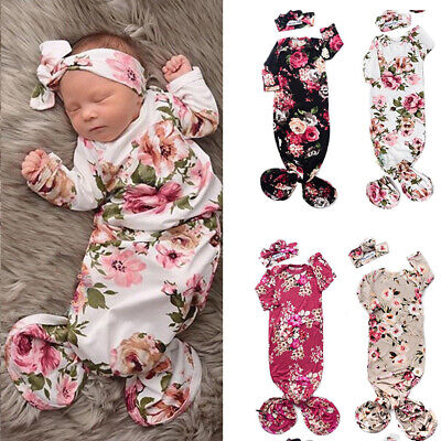 Newborn Infant Baby Girls Floral Sleeping Swaddle Bag Blanket With Headband (Sleeping Bags Girls)