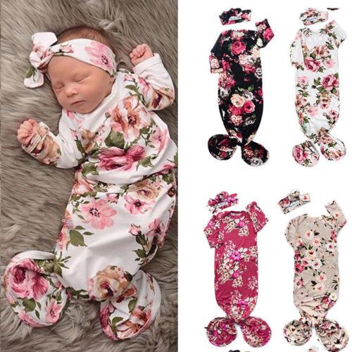 Newborn Infant Baby Girls Floral Sleeping Swaddle Bag Blanke