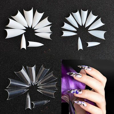US 500-1000Pcs Stiletto French False Fake Acrylic Nail Tips Coffin Nails Long
