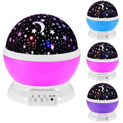 Baby Sleeping Rotating Sky Moon Star Led Projector Night Light Lamp Decor Us