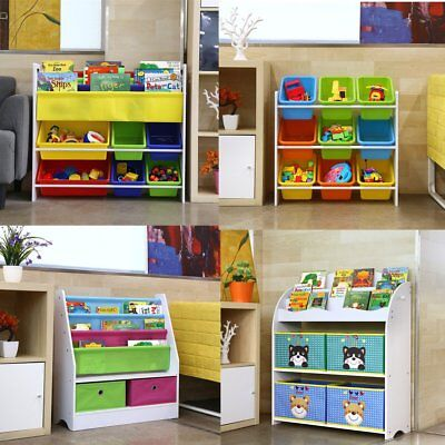 Children Kids Toy&Book Storage Rack Bookcase Bookshelf Tidy Bedroom Playroom UK