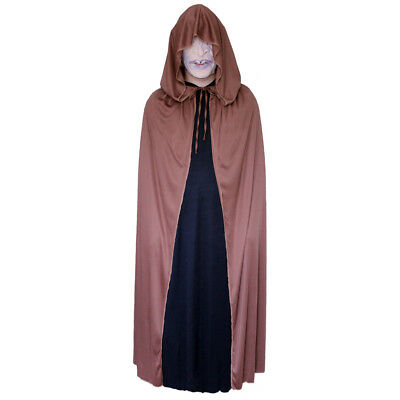Brown Cloak with Large Hood ~ HALLOWEEN WIZARD MEDIEVAL RENAISSANCE COSTUME CAPE - Brown Hooded Cloak