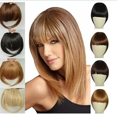 Real Thick Straight Bang Clip in on Fringe Hair Extensions Humans Hairpiece ()