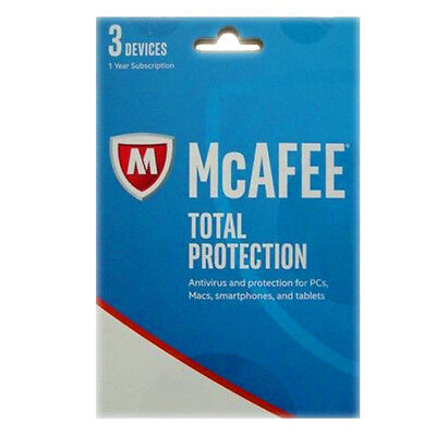 Mcafee Total Protection 2017 1 Year Key Card With Premium Antivirus   3 Devices