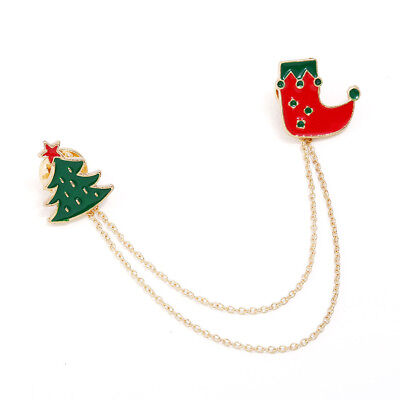 Elegant Jewelry Gift Christmas Tree Boot Chain Badge Enamel Brooch Pin New Trend