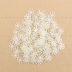 New 100Pcs Snowflake DIY White Flatback Appliques For Phone/Wedding/Craft Button